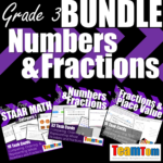3rd grade math bundle for fractions and numbers