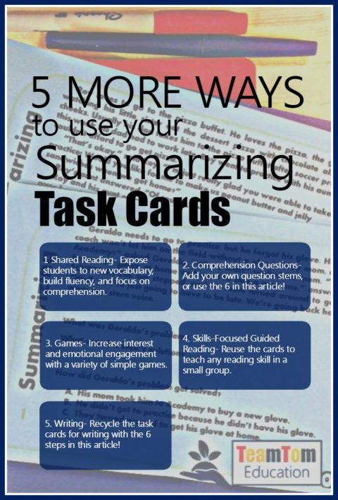 Summarizing Task Cards are awesome with these 5 teaching ideas!