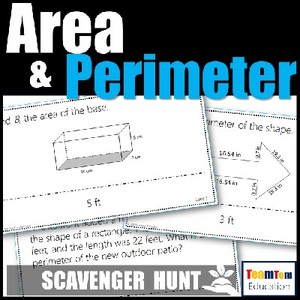 Area and Perimeter Task Card Games that really engage!