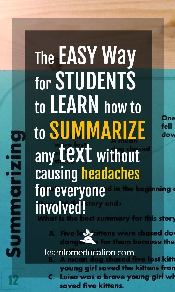 Teaching Strategies for how to summarize.