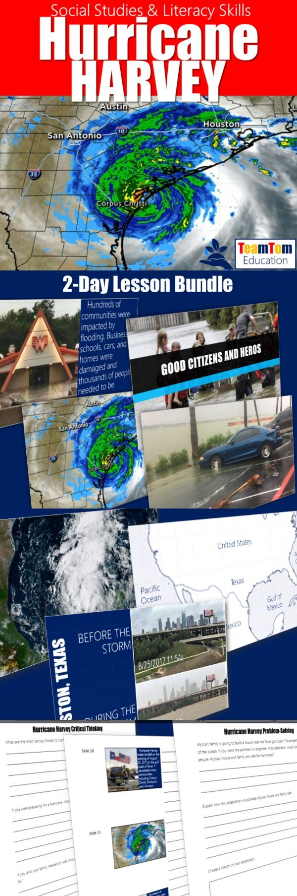 These activities will help students visualize the devastating impact of Hurricane Harvey