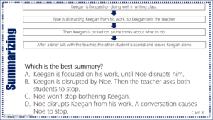 Use graphic organizers to teach summarizing in these test prep task cards!