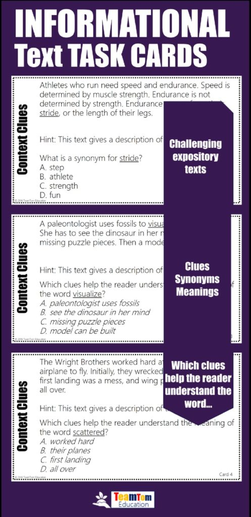 Challenging informational texts provide the best context for learning in these context clues task cards!