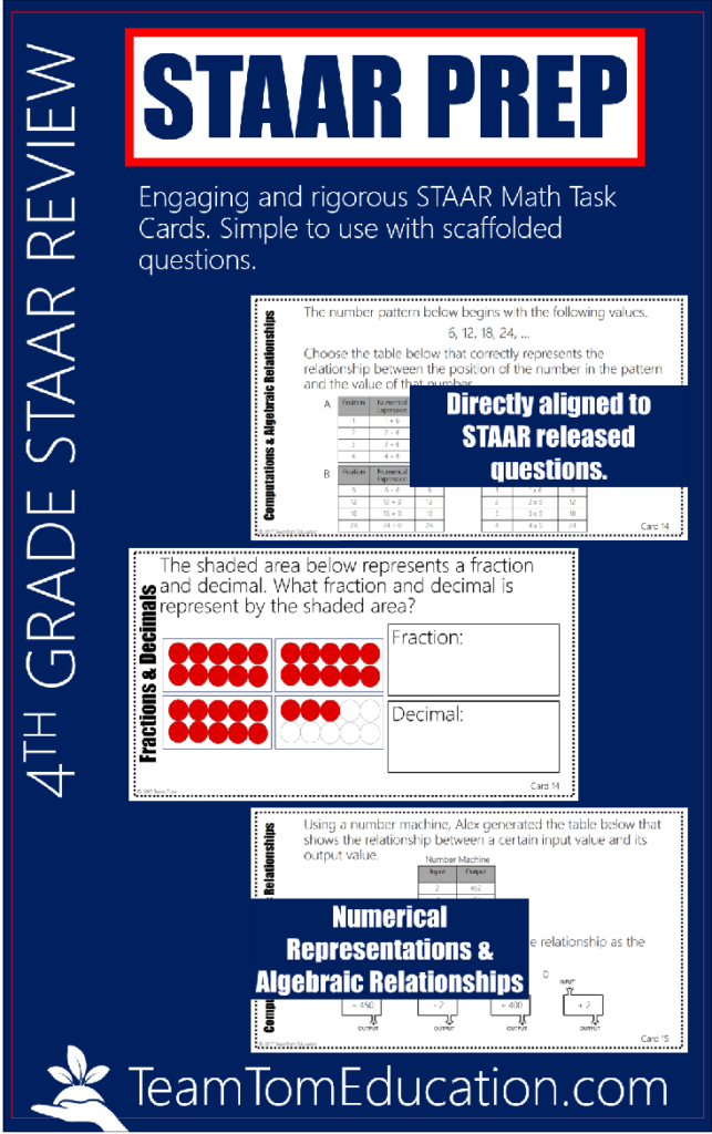 4th Grade STAAR Math Review that targets the readiness TEKS with aligned task cards!