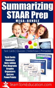 Take charge of one of the biggest reading TEKS on STAAR - summarizing! This STAAR Prep bundle has a full week of lessons, task cards, quizzes, and more!