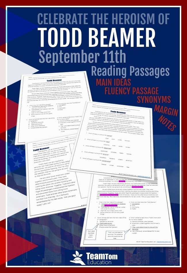 This September 11th activity integrates social studies and reading as students learn about Todd Beamer.