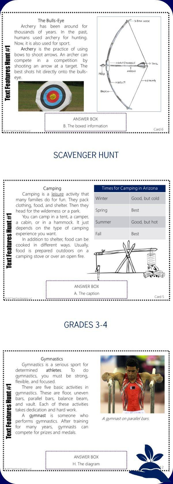 This text feature scavenger hunt engages students in using and understanding text features in informational texts.