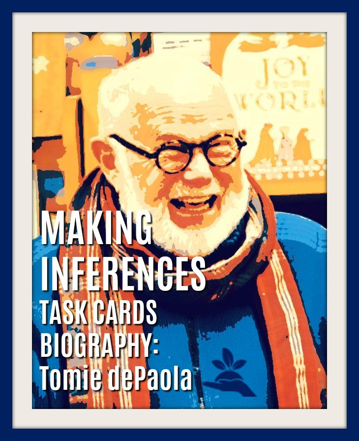 Making Inferences Task Cards 8  |  Visualizing, Author's Purpose, Text Evidence, Tomie dePaola, and more in the 8th set of making inferences task cards! Click to preview.